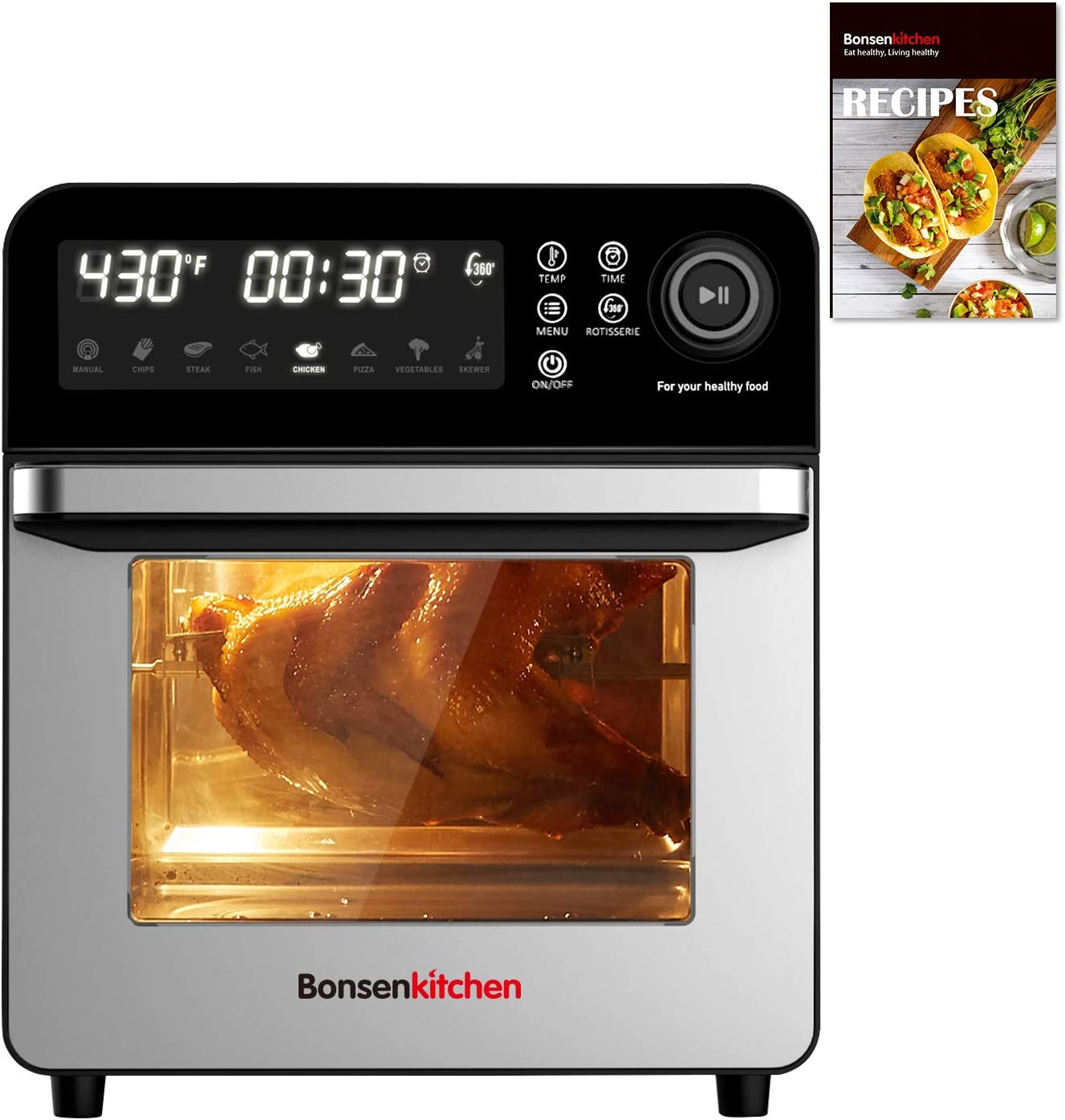 Bonsenkitchen Air Fryer Oven, 15.3QT Rotisserie Oven with Dehydrator, 7 Accessories & 50 Recipe, 1600W 8-in-1 Digital Family Size Air Fryer, Large LED Touchscreen & 7 Presets
