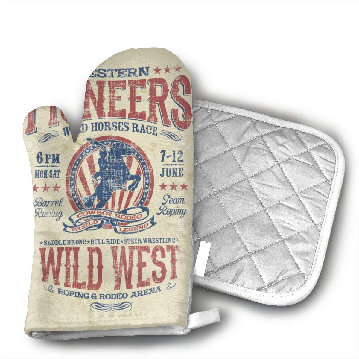 Wiqo9 Western Pioneers Rodeo Oven Mitts and Pot Holders Kitchen Mitten Cooking Gloves,Cooking, Baking, BBQ.