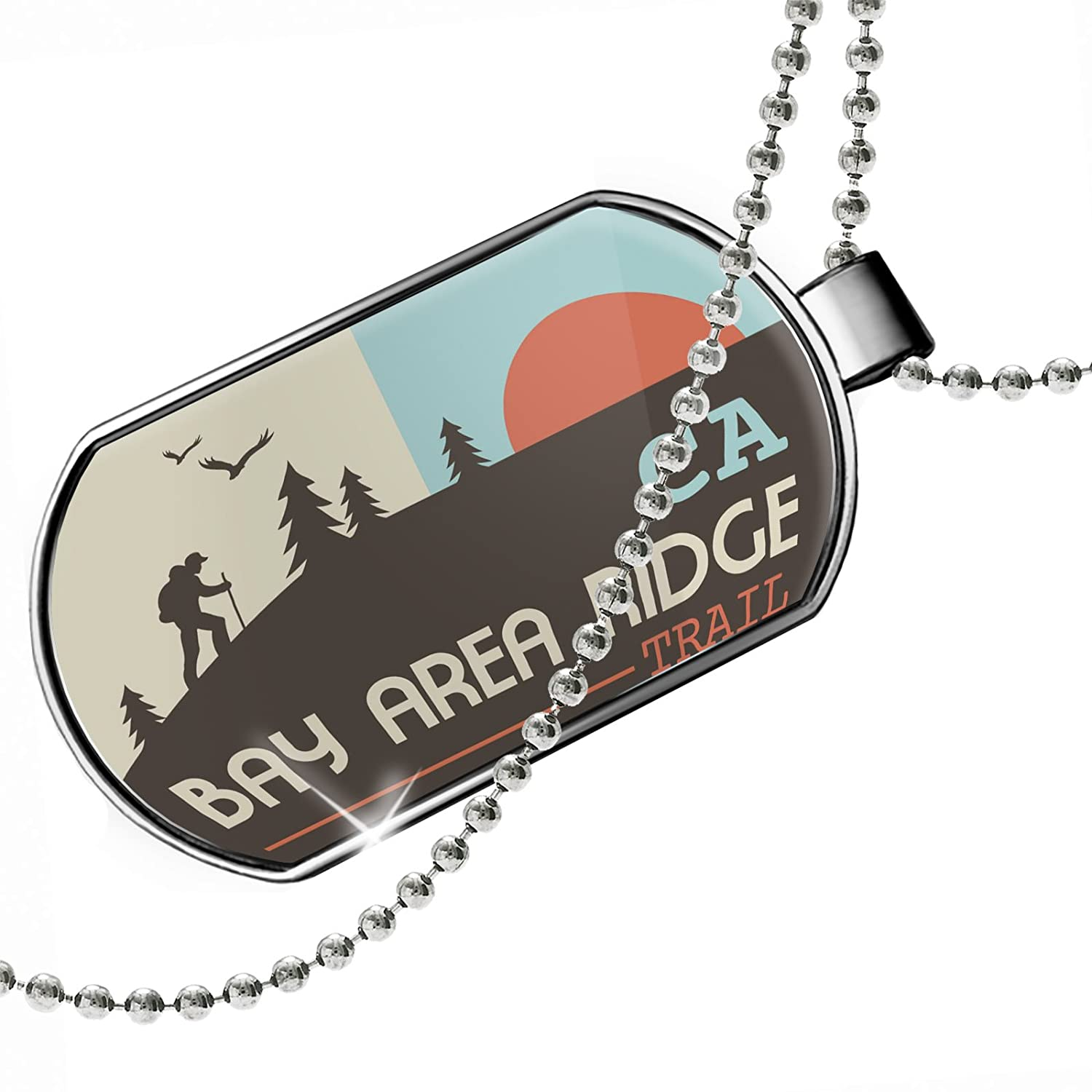 California Dogtag Necklace NEONBLOND Personalized Name Engraved US Hiking Trails Bay Area Ridge Trail