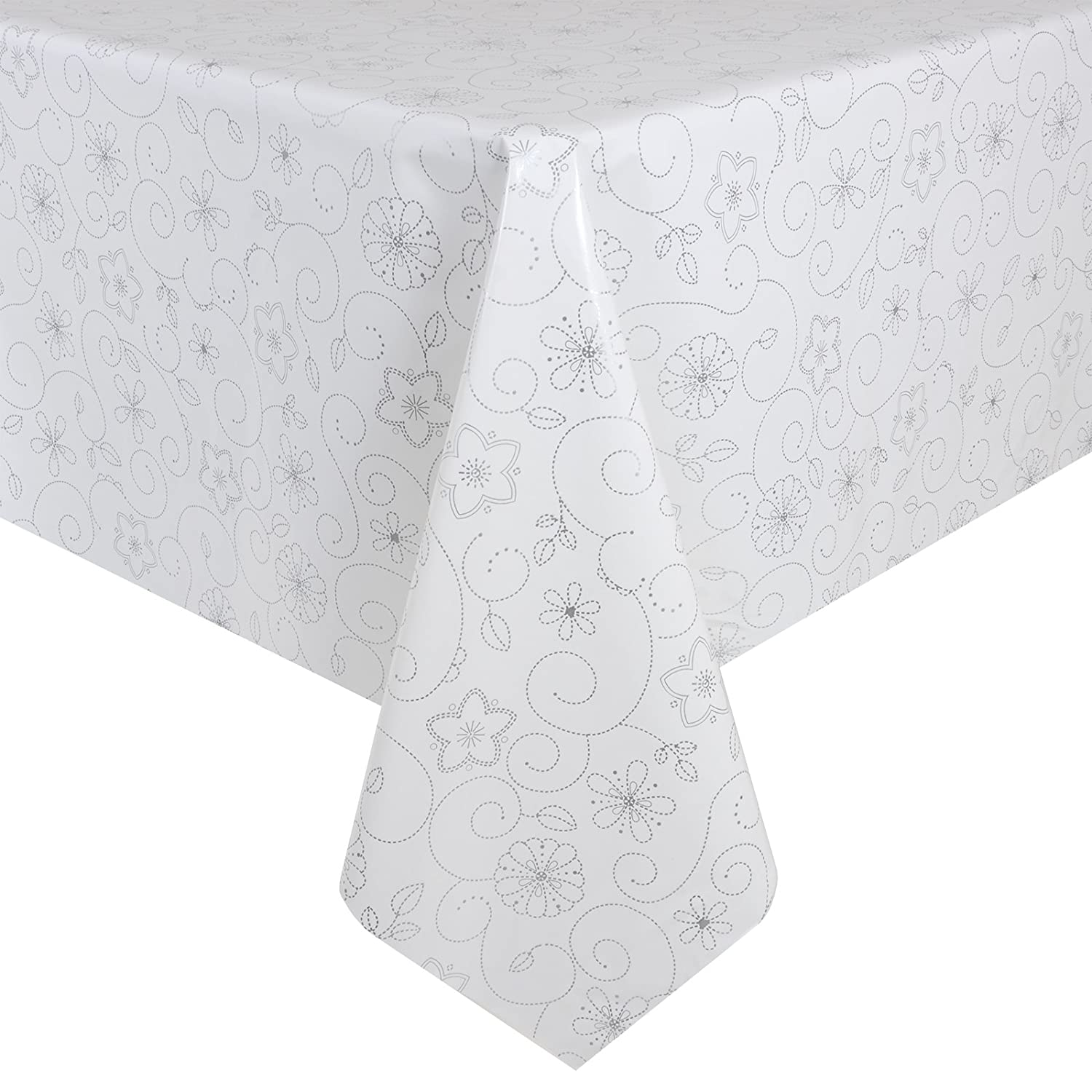 Delightful White/Silver Flowers Wipe Clean PVC Vinyl Tablecloth Cover Protector  140x240cm: Amazon.co.uk: Kitchen U0026 Home