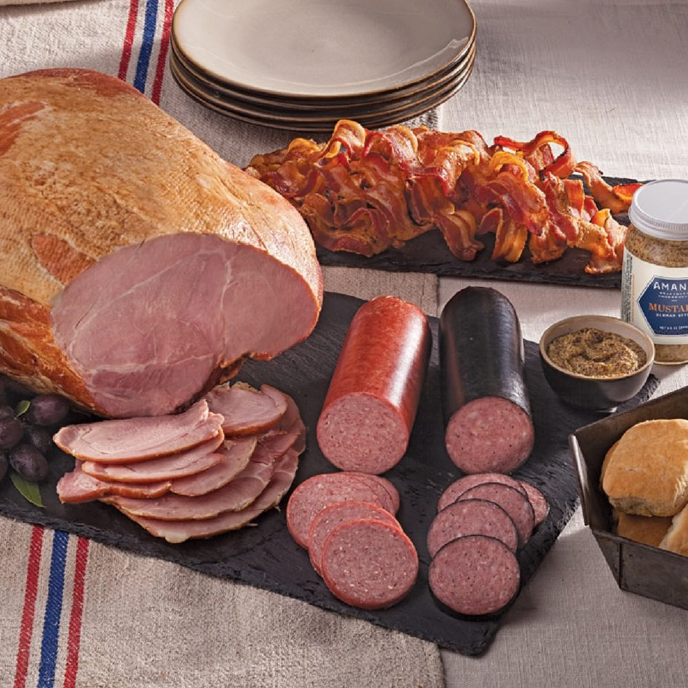 Gourmet Foods, Meats, Smoked Whole Bone-In Ham 3 lbs. Sliced Smoked Bacon 14 oz. Light-Smoked Summer Sausage 14 oz. Double-Smoked Summer Sausage 8.5 oz. German-Style Mustard by AMAN001