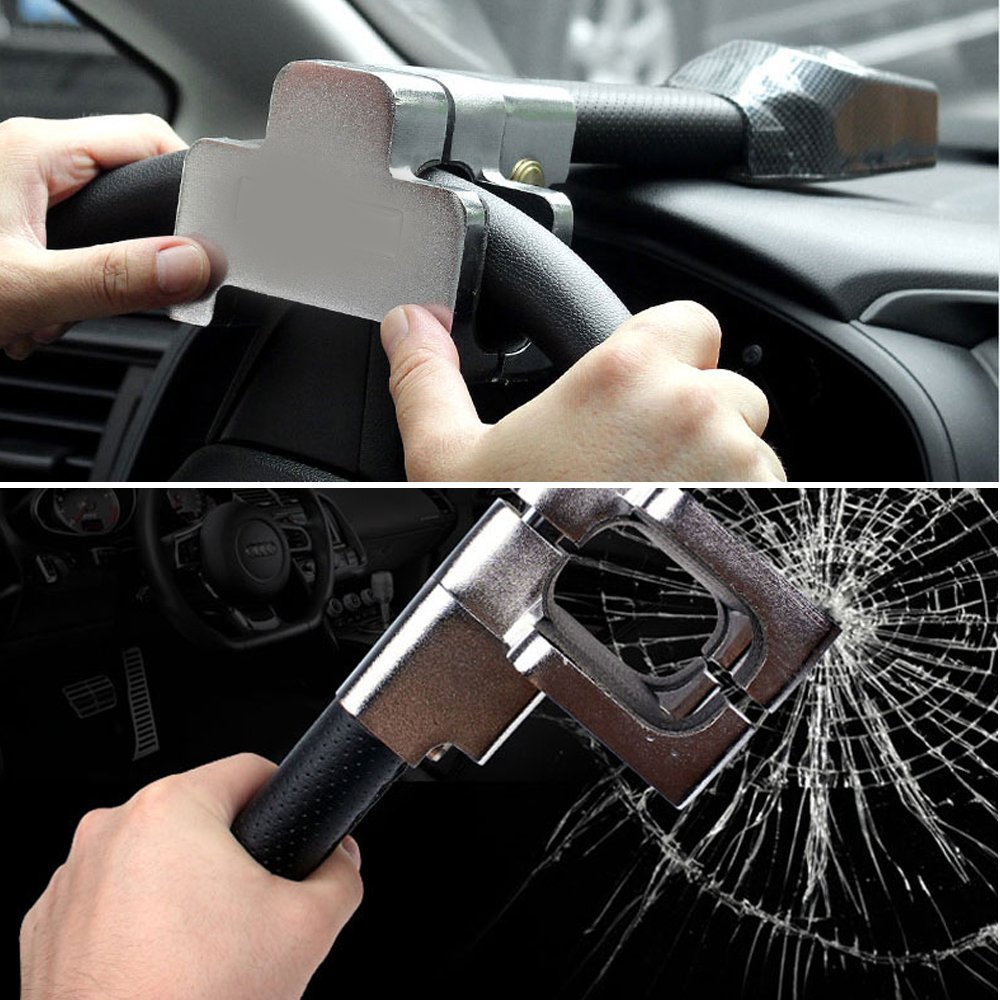 Universal Auto Antitheft Locking Car Steering Wheel Lock With Keys Security Alarm T-lock Black