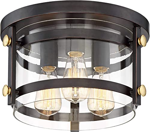 Eagleton Rustic Farmhouse Ceiling Light Flush Mount Fixture Antique LED Edison Oil Rubbed Bronze 13 1 2 Wide 3-Light Clear Glass Shade for Bedroom Kitchen Living Room Hallway – Franklin Iron Works