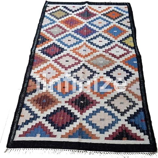 iinfinize - Alfombra de yute de algodón de 4 x 6 pies, forma rectangular, gran área alfombra de suelo Kilim alfombra reversible tejida a mano Dhurrie tapete de cocina decorativo para suelo: