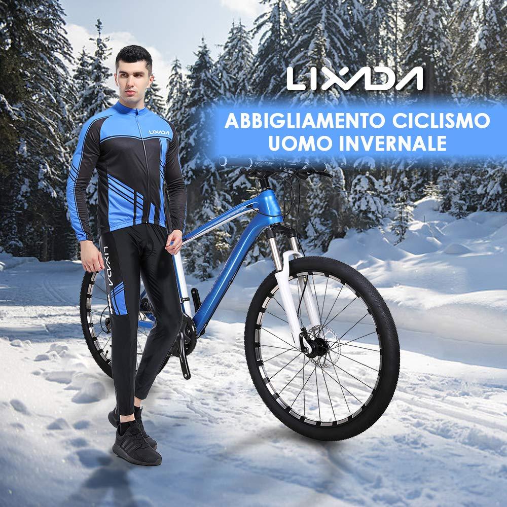 Lixada Monta/ña Arsuxeo Chaqueta de Invierno Caliente Chaqueta de Manga Larga de Ciclismo de luz de Bicicleta a Prueba de Viento de la Camiseta de la Ropa