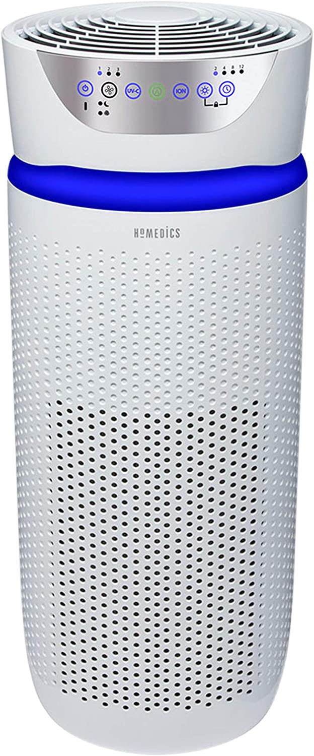 Homedics TotalClean Deluxe 5-in-1 Tower Air Purifier, UV-C Light for Home, Office, 360-Degree True HEPA Filtration, Air Quality Particle Sensor, Extra Large Room Odor Reducer, Aromatherapy, White