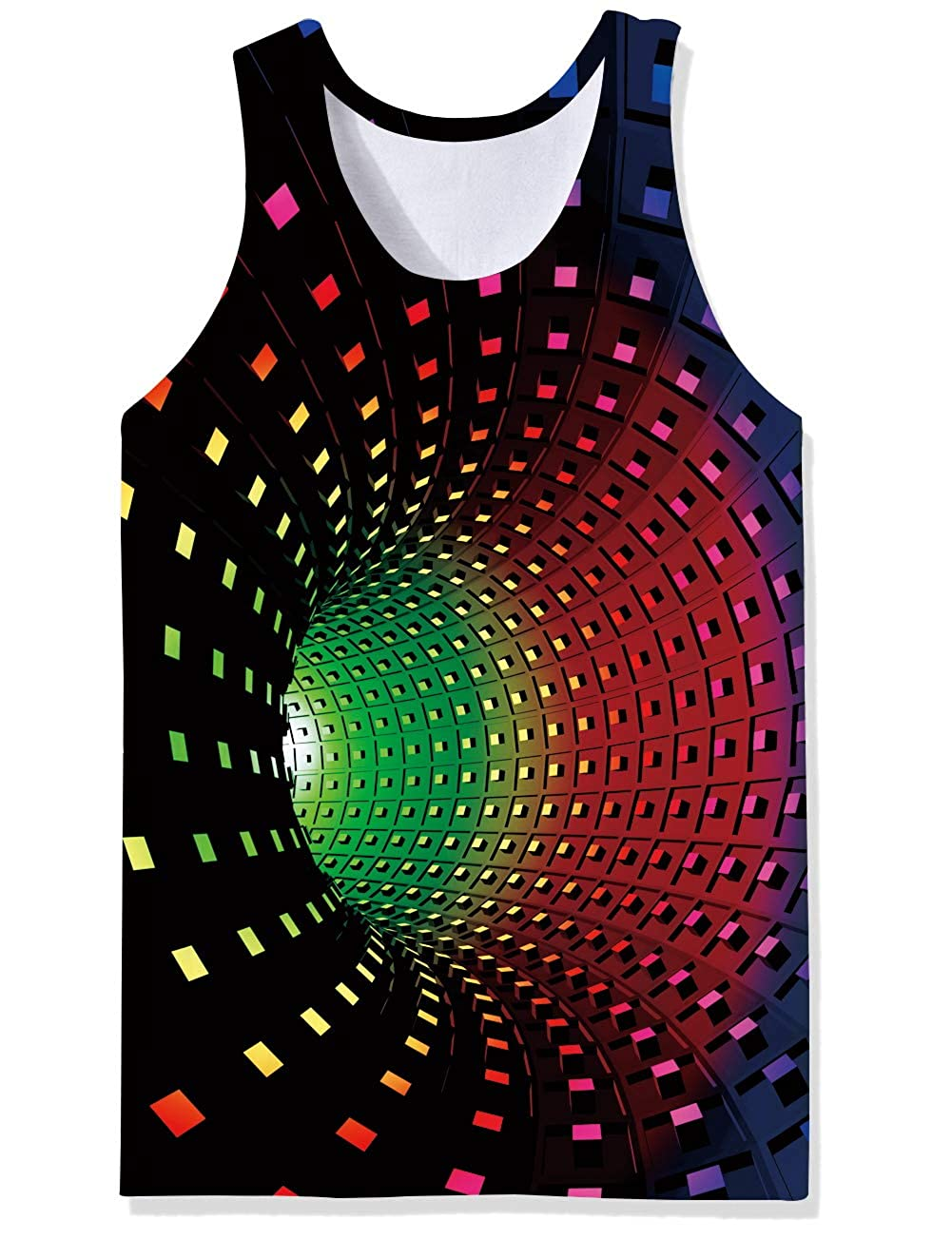 uideazone Mens Tank Top Casual 3D Printed Patterns Graphics Tees Cool Sleeveless T-Shirts