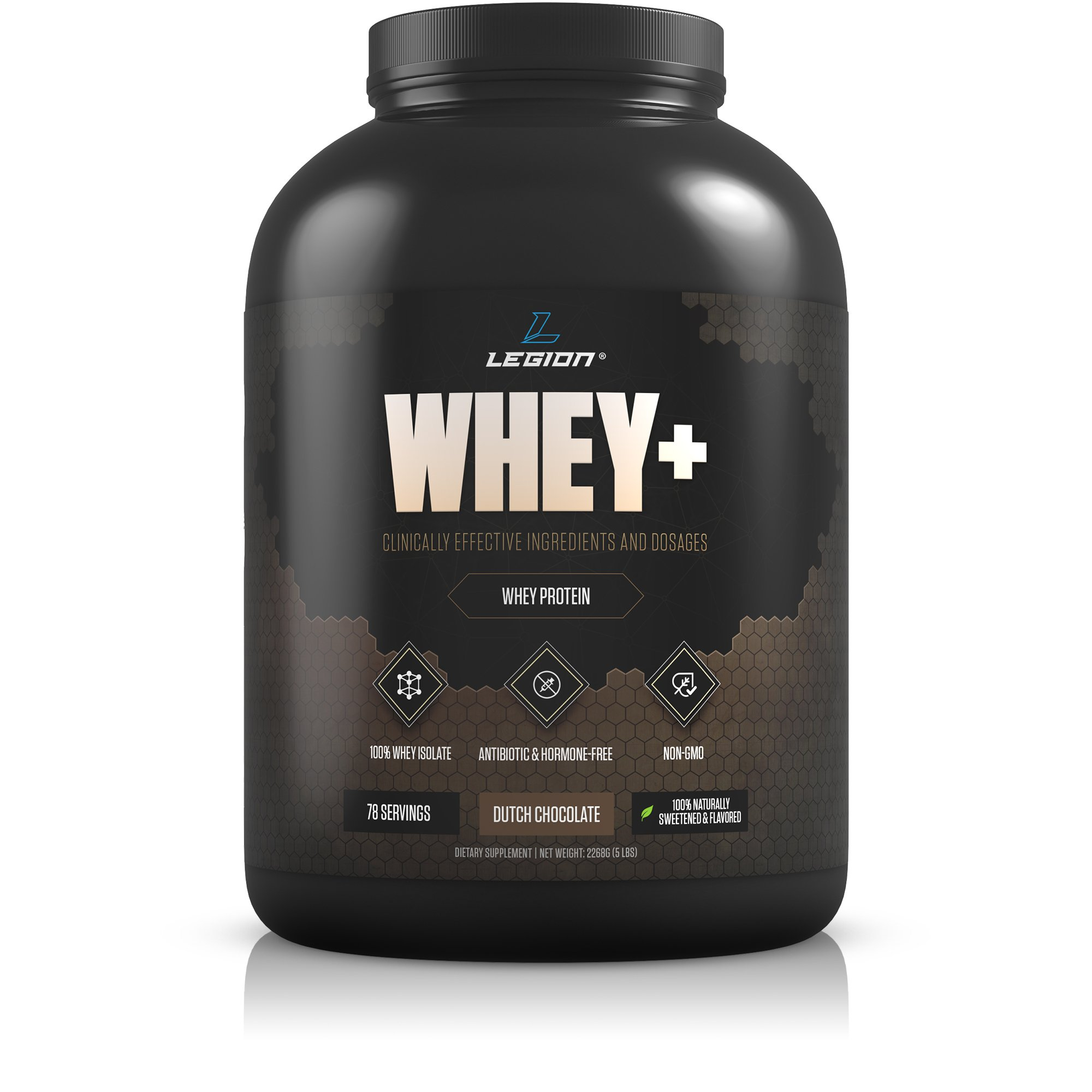 Legion Whey+ Chocolate Protein Powder 5lb. Best Tasting All Natural Whey Isolate Protein Shake From Grass Fed Cows For Bodybuilding, Weight Loss & Faster Recovery - Low Carb, Lactose Free, Sugar Free.