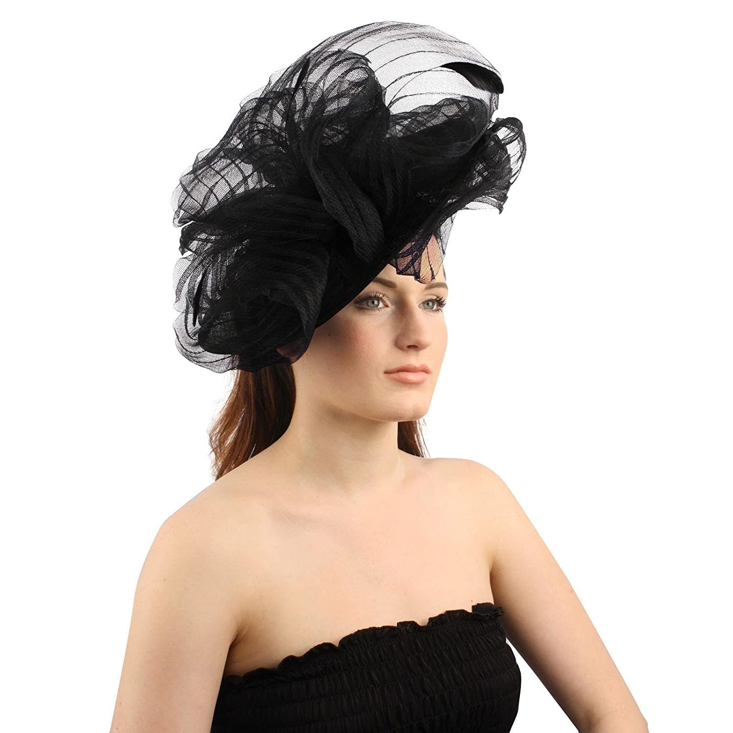 SK Hat shop Fancy Derby Disc Swirl Tulle Feather Headband Fascinator  millinery Church Black at Amazon Women s Clothing store  b8bb29451b0