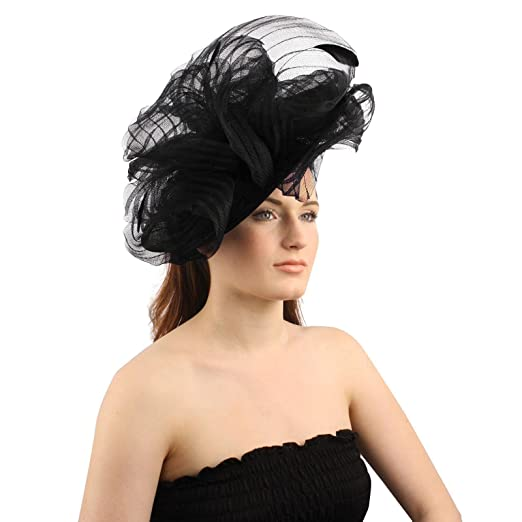 83101c8f96b SK Hat shop Fancy Derby Disc Swirl Tulle Feather Headband Fascinator  millinery Church Black