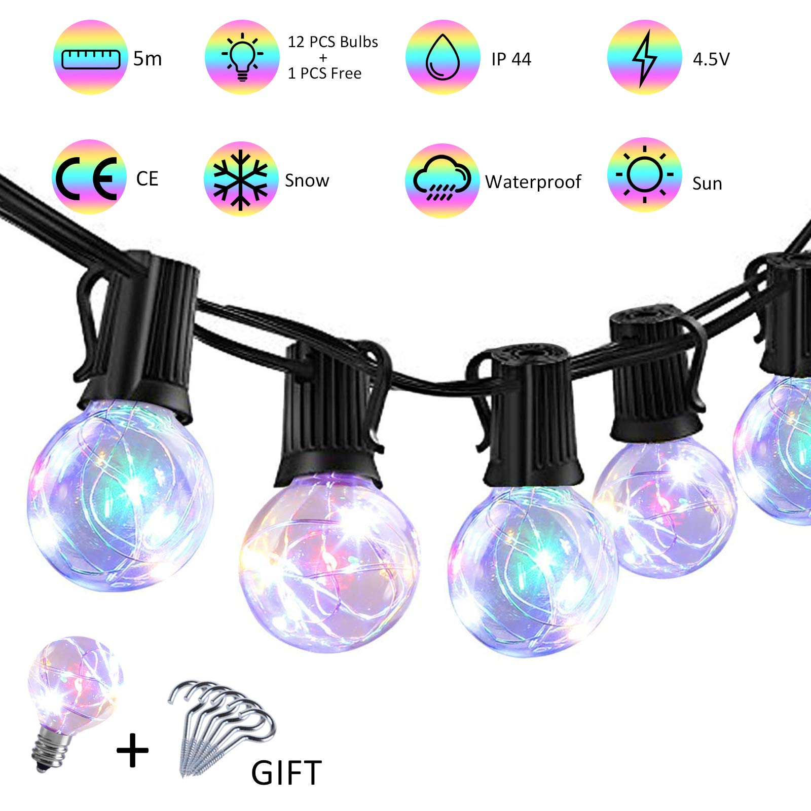 MIXC 17ft LED Globe String Lights with 12 G40 Clear Bulbs for Patio, Waterproof RGB Color Flashing Christmas String Lights for Indoor Outdoor Patio Party Store Wedding Backyard Porche Gazebo