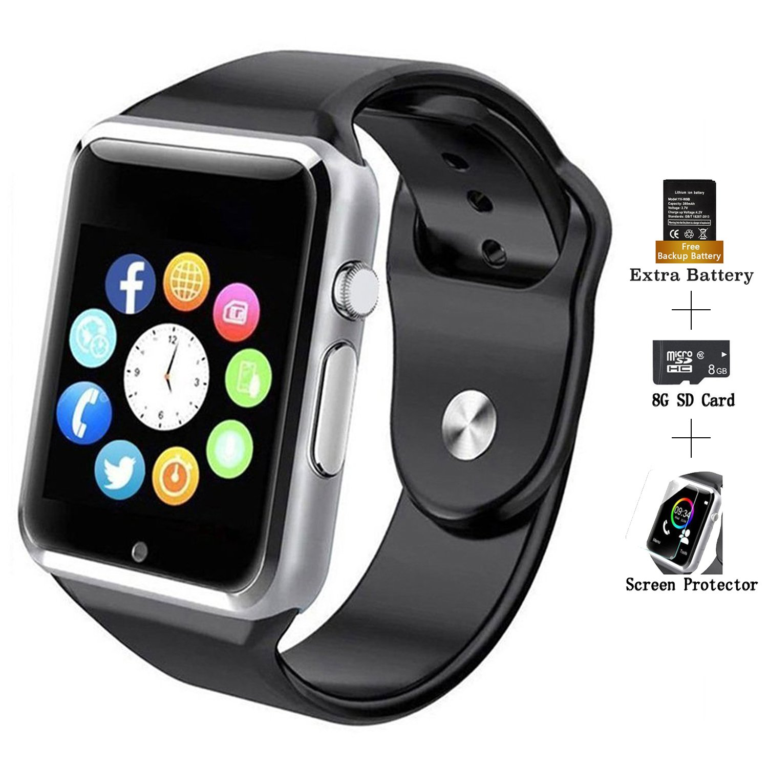 COSROLE Smart Sports Watch, Bluetooth V4.0 Smart Watch Sport Wireless Monitor Wristband with Sleep Monitoring Pedometer Call Message Reminder Anti Lost for Android Phones - Black