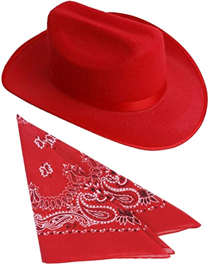 f4c0fd35168 Amazon.com  Kids Red Cowboy Outlaw Felt Hat And Bandana Play Set Costume  Accessory  Clothing