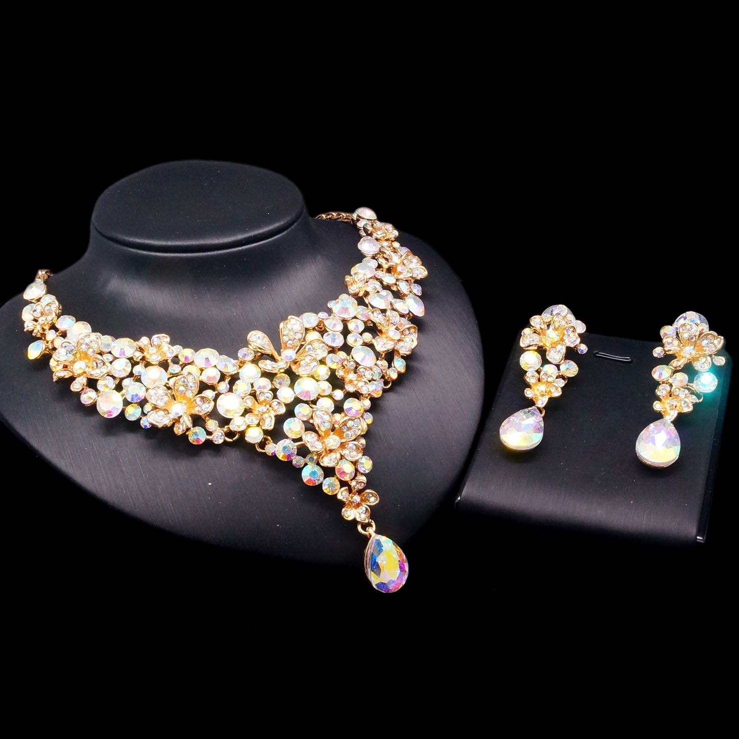 As Picture Yulaili Diamond Jewellery Set Pearl Wedding Cool Crystal Necklaces Handmade Jewelry Necklace Gem Trendy