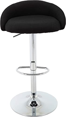 Brage Living Jester Low Back Fabric Upholstered Height Adjustable Counter and Bar Stool with Footrest – Black
