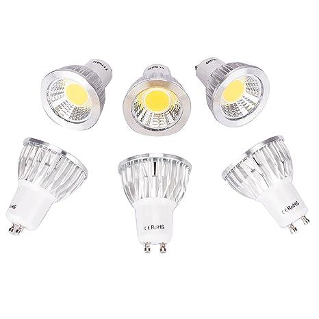 10 Paquete GU10 3W Bombillas LED COB No regulable Proyector 30W Bombilla halógena Equivalente 3000k Blanco