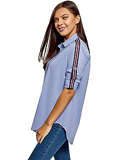 oodji Ultra Mujer Camisa Oversize con Parches: Amazon.es: Ropa y accesorios