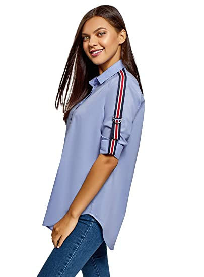 oodji Ultra Mujer Camisa de Algod/ón Oversize