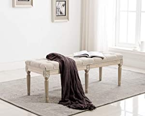 Kmax Upholstered Entryway Bench, Rustic Ottoman Bench with Carved Pattern & Rustic White Brushed Rubber Wood Legs, Beige