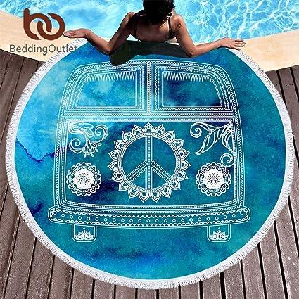 Amazon.com: Bedding Outlet Watercolor Car Round Beach Towel ...