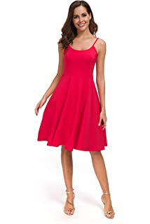 be001578f99 Malist Women s Casual Sleeveless Adjustable Strappy Flared Midi Skater Dress