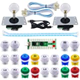 SJ@JX 2 Player Arcade Game LED DIY Kit LED Button Zero Delay USB Encoder Mechanical Keyboard Switch for PC Raspberry Pi Arcade Fight Joystick Xbox Style Color LED