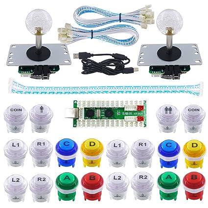 20 LED Arcade Buttons 2-Player LED Arcade DIY Kit 2 Joystick