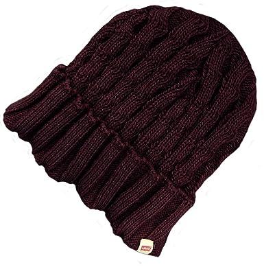 1cb7d733c9915 Levi Strauss Co Levi s Ladies Turn Up Knit Beanie Hat Red Wine ...