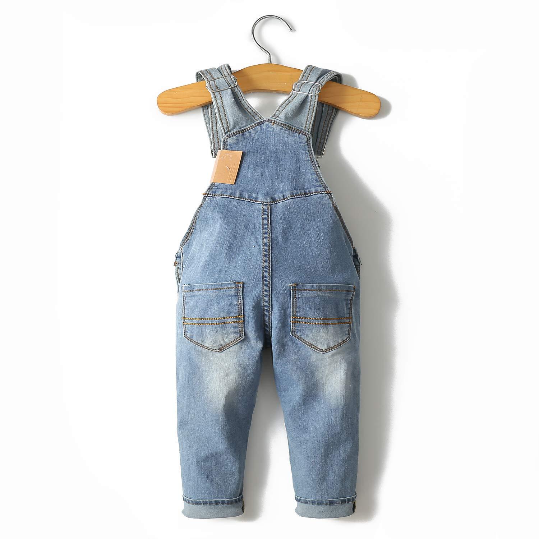 Kidscool Baby /& Toddler Adjustable Light Blue Washed Slim Jeans Overalls