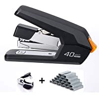 Leven Effortless Desktop Stapler, 40-50 Sheet Capacity, One Finger Touch Stapling, Easy to Load Ergonomic Heavy Duty Stapler, Includes 1500 Staples and Staple Remover