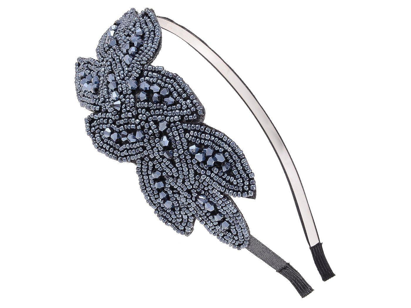 Alilang Gunmetal Pailletten Perlen Blumenblatt Strau/ß Retro Flapper Blitzend Mode Haar Hauptband Haarband Haarreif
