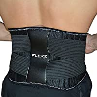 FlexzFitness Lumbar Support and Lower Back Brace - Includes Reusable Hot or Cold Pack for Back Pain Relief