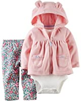 Carters Baby Girl's 3 Piece Set- Jacket, Onesie, Pants (24M, Light Pink/Floral)