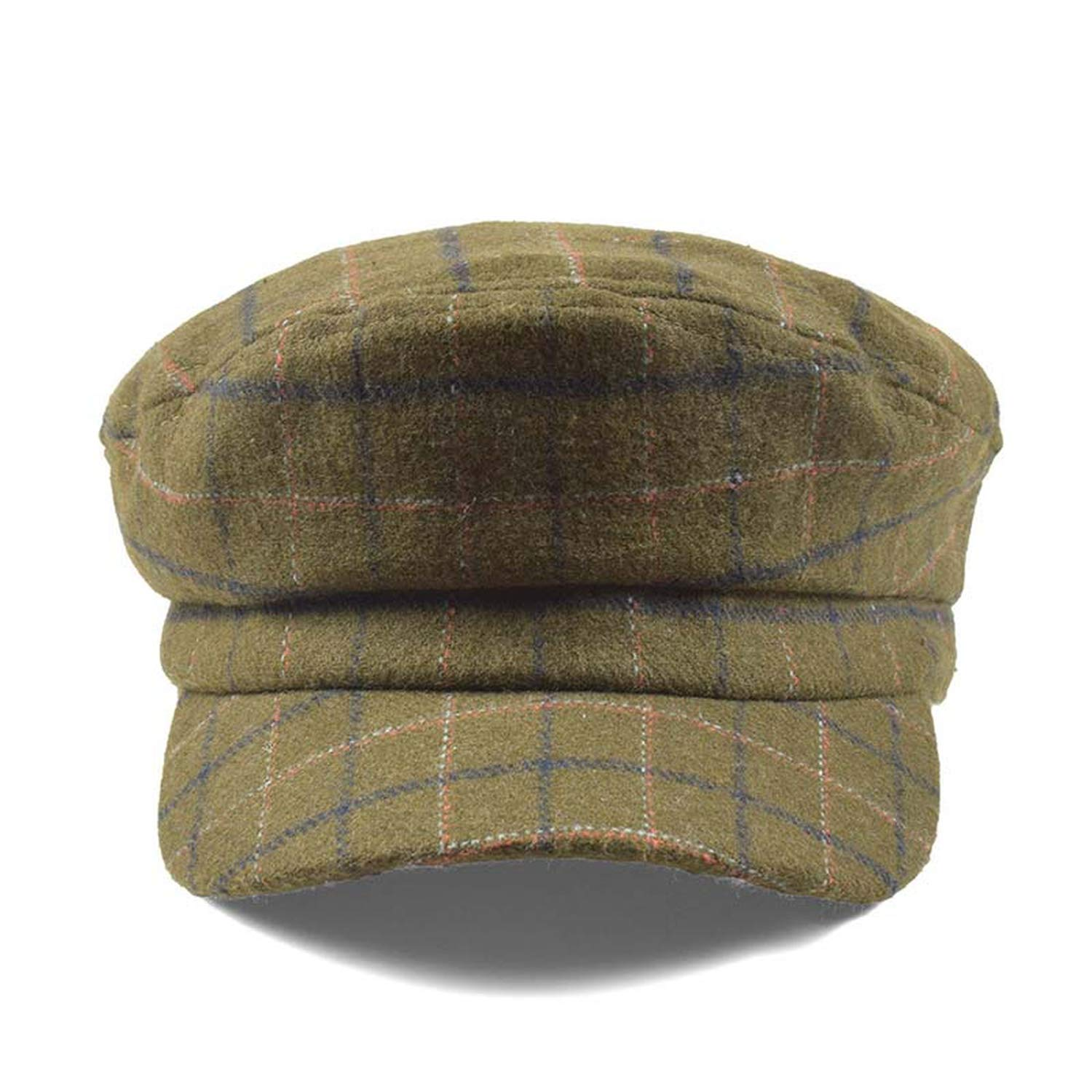 New Military Hats for Women Retro Plaid Berets Autumn Winter Cap Casual Flat Top Army Hat Female Painter Hat