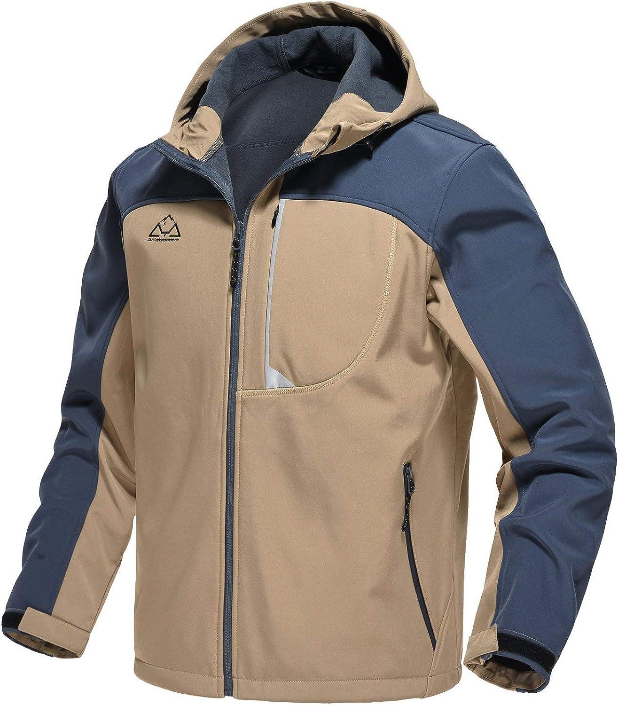 Rdruko Mens Outdoor Softshell Jacket Fleece Lined Waterproof Tactical Hiking Climbing Hooded Jacket