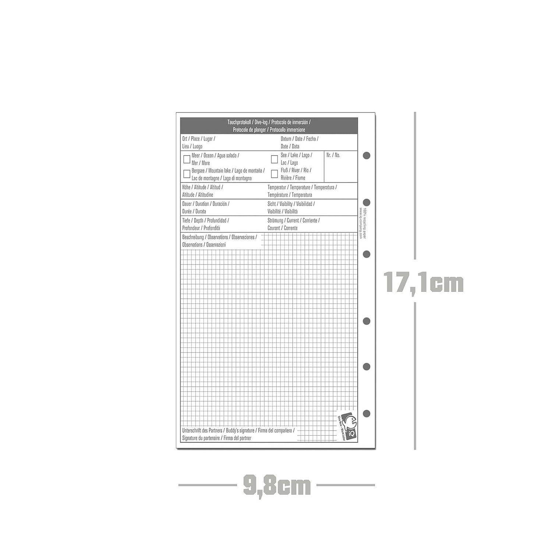 Blanc IQ-company Logbook Refill m 1/dive per page/ /Journal de plong/ée