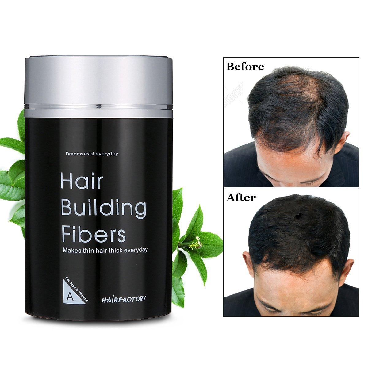 Pourdre à Cheveux LuckyFine Noir Microfibres de Kératine Naturelle aux Hommes et Femmes contre la Perte de Cheveux