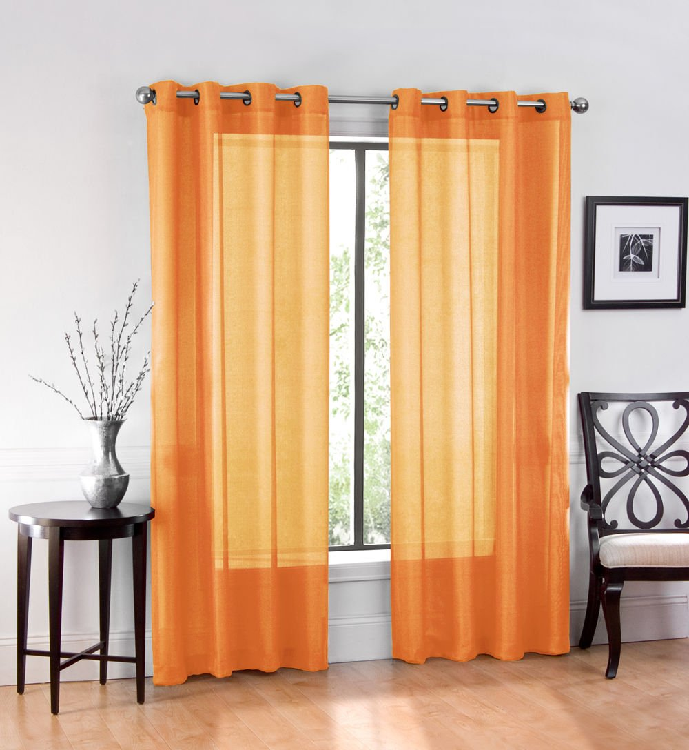 Orange GoodGram Ultra Luxurious High Woven Elegant Sheer Grommet Curtain Panels
