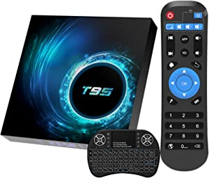 Android 10.0 TV Box, T95 Android Box 2GB Ram 16GB Rom H616 Quad-core with Wireless Mini Keyboard, Support 6K/3D/H.265 Ethernet 2.4G/5G Dual Wifi BT5.0