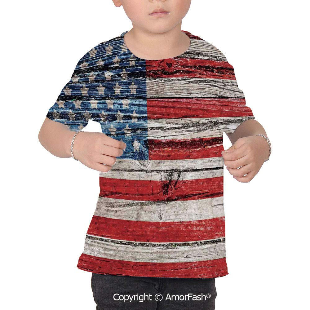Rustic American USA Flag Childrens Classic Basic Printed Ultra Comfortable T-Sh