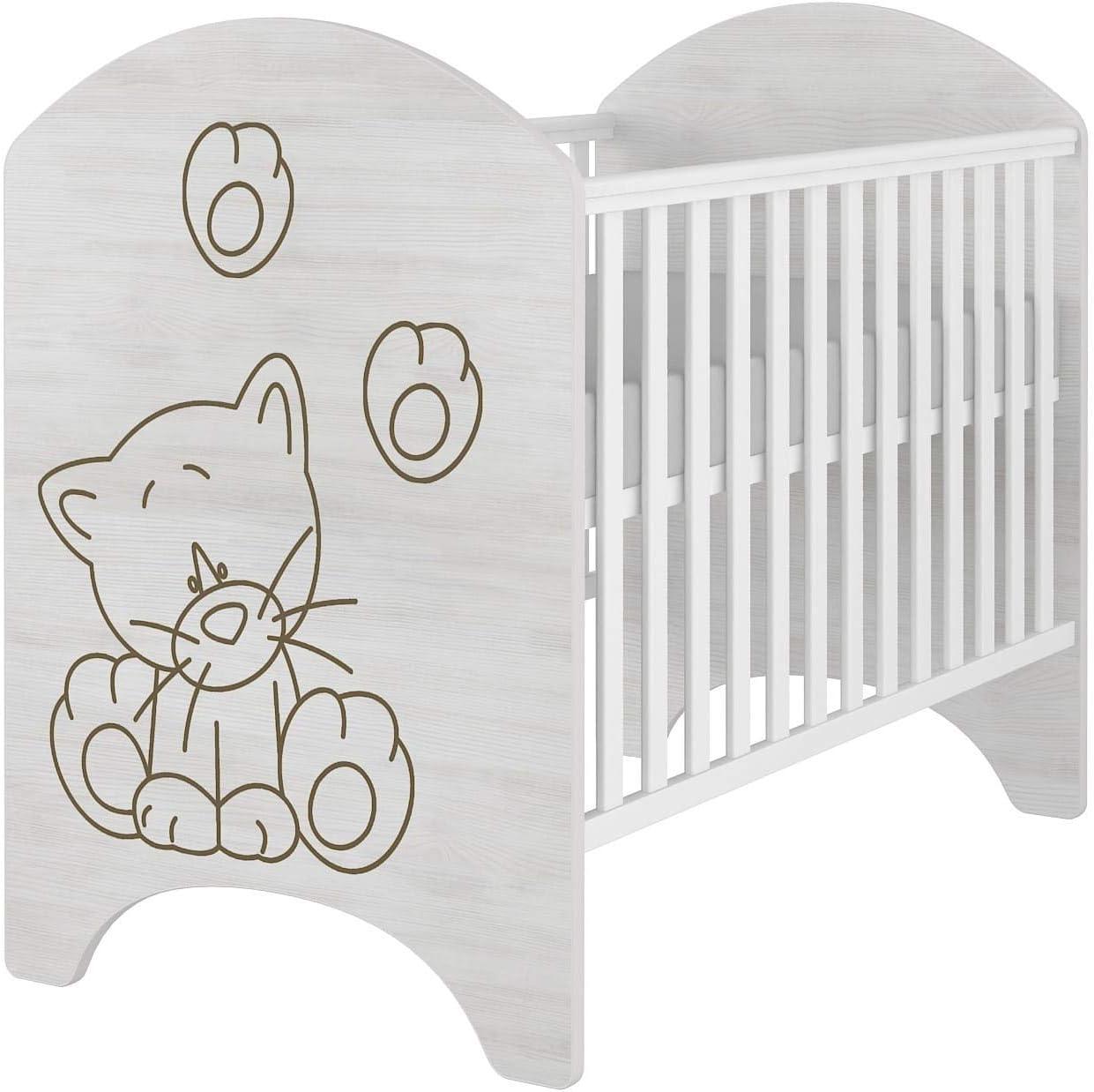 iGLOBAL Cuna para beb/é con rejilla colch/ón de espuma de 3 alturas y fibras de coco de 120 x 60 cm blanco Blue Kitten juego completo con 2 pelda/ños