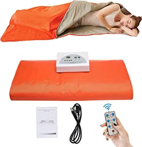 PinJaze Sauna Blanket, Infrared Sauna Help Relieve Pain/Weight Loss/Detoxification,Smart Remote Control with Button Battery and Safety Switch 110V US Plug (Orange)