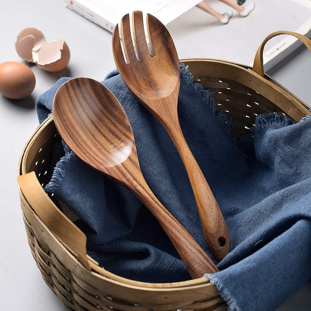 Basage Wood Acacia Salad Servers for Nonstick Cookware Kitchen Wooden Baking Salad Making Server,2 Pieces