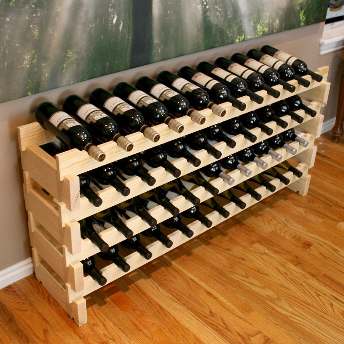 Creekside 48 Bottle Long Scalloped Wine Rack (Pine) by Creekside - Easily stack multiple units - hardware and assembly free. Hand-sanded to perfection!, Pine