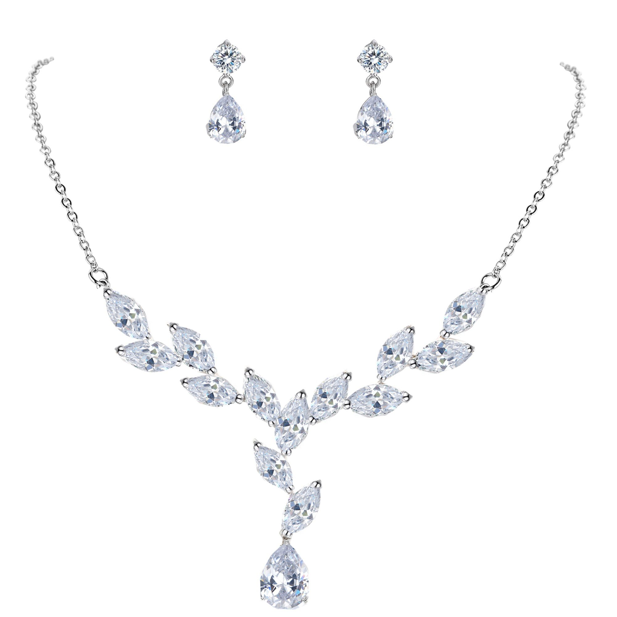 Mondora Women's Bling Cubic Zirconia Teardrop Wedding Y-Necklace Earrings Set Silver-Tone Clear by Mondora (Image #1)