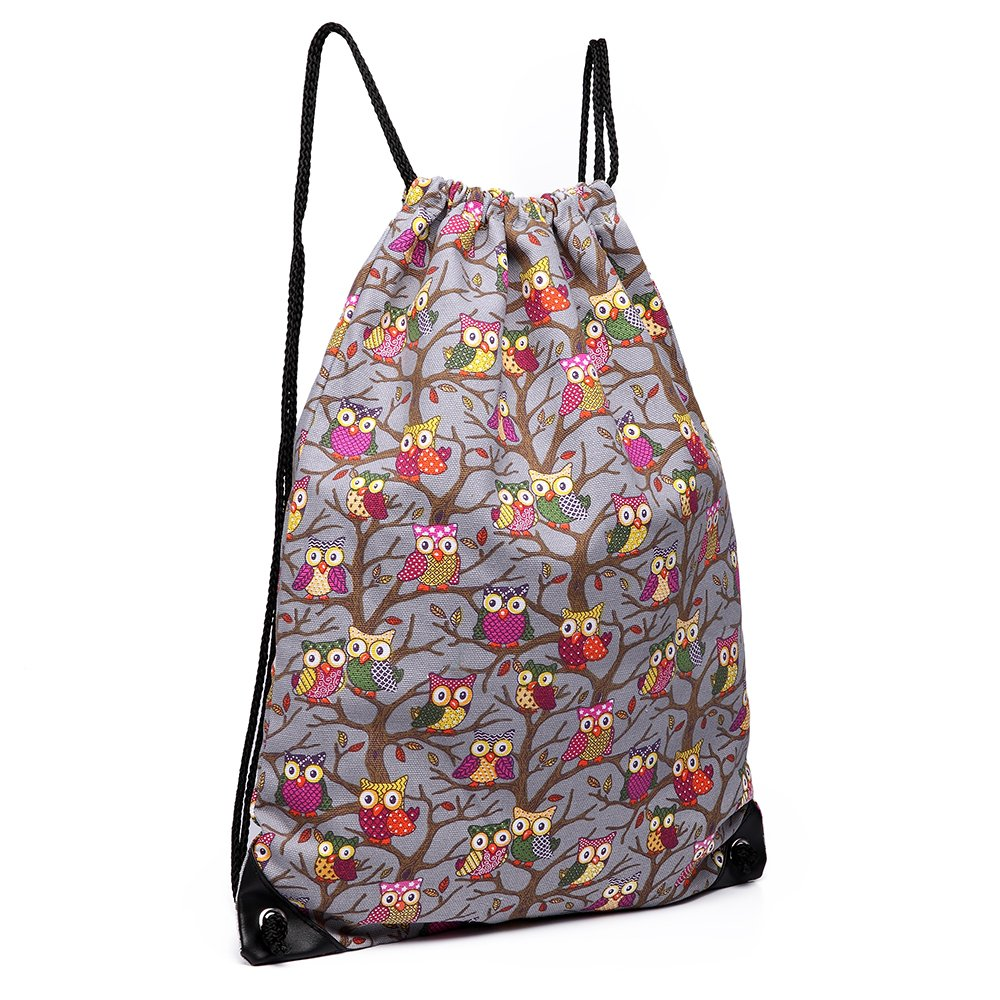 Cotton Canvas Waterproof Printed Drawstring Gym Work Backpack Rucksack
