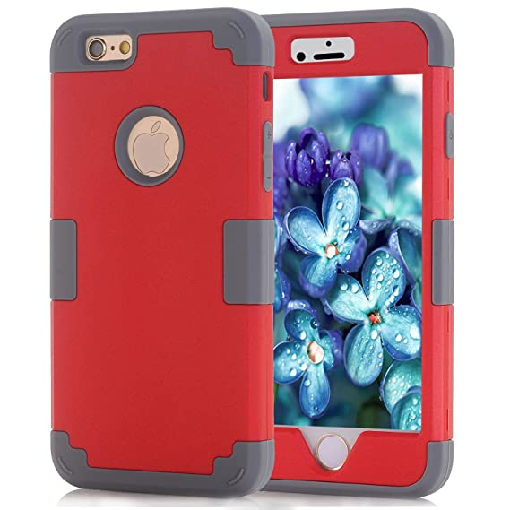 the latest 1adbf c87bc Shockproof iPhone 6S Case Red, Hybrid Defender iPhone 6 Case Heavy Duty,  iPhone 6S Phone Case for Women, Rugged Case iPhone 6 Cases for  Girls,Silicone ...