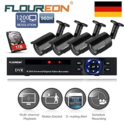 Floureon - Kit de 4 Camaras de Vigilancia Seguridad (H.264 CCTV DVR P2P