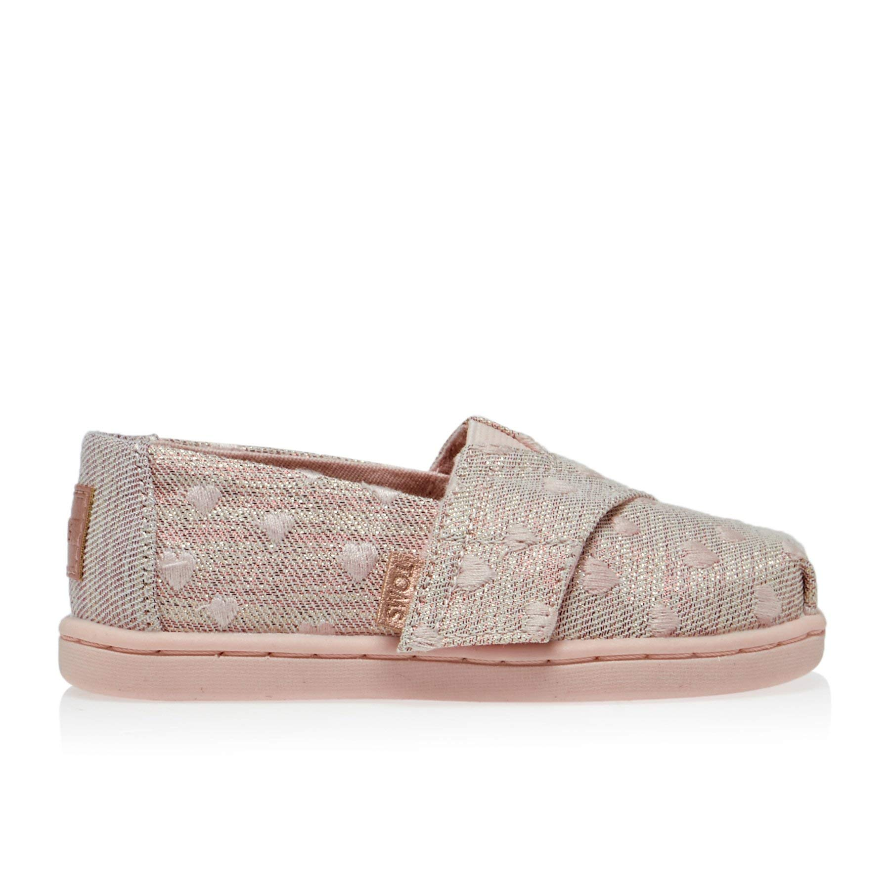 TOMS Kids Baby Girl's Alpargata (Toddler/Little Kid) Rose Cloud Heartsy Twill Glimmer Embroidery 11 M US Little Kid by TOMS Kids (Image #2)