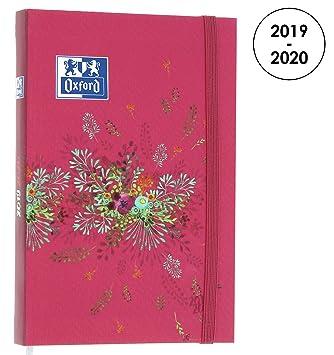 Oxford Flowers - Agenda escolar 2017–2018, 1 día por página, 352 páginas, 12 x 18 cm, roja (idioma español no garantizado)
